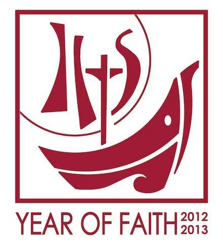 """This is the English version of the 2012-2013 Year of Faith logo. The logo features a boat, which is a traditional symbol for the church. Its main mast is the cross and, with the sails, it forms the initials IHS, the """"Christogram"""" standing for Jesus, savior of men. Behind the IHS, the sun evokes a eucharistic host. (CNS) (June 21, 2012) See FAITH-CALENDAR June 21, 2012."""