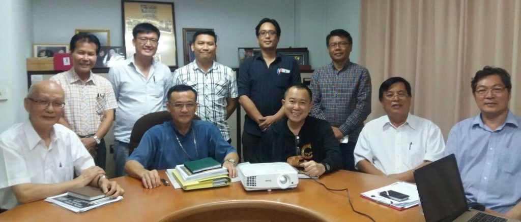 1.Archbishop John Wong (seated 2nd from left) is seen on his left with Fr Fundes Motiung, Datuk Stephen Sondoh, and architect Dr Tan Jun Kwang who attended the meeting on Nov 15 at his office in Penampang. Seated at far left is Datuk Joseph Leong, chairman of SOCCOM and standing behind them are members of the technical committee who were present.