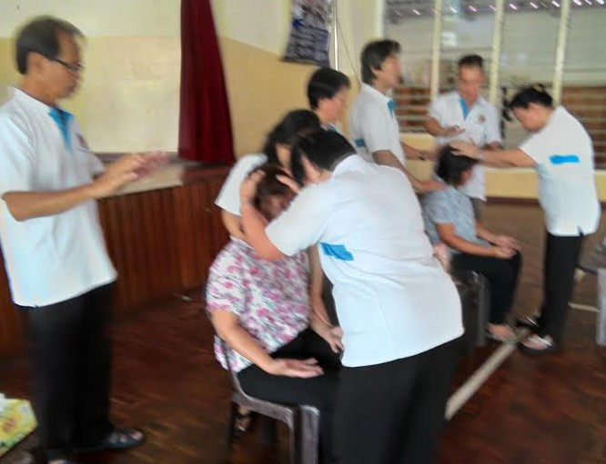"""Prayinf-over is one of the services offered during the """"24 Hours for the Lord"""" at Stella Maris Tg Aru Mar 4."""